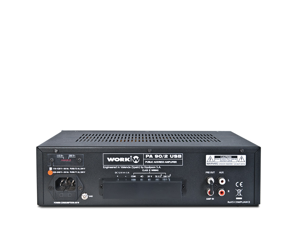 2 MIC 1 AUX USB SD 25 70 100V