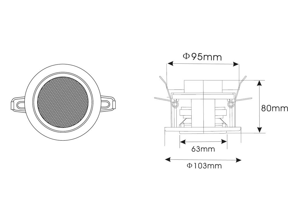 RCS 303 BT Dimensiones/Dimensions
